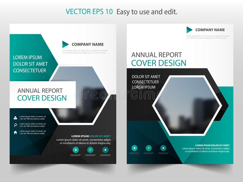 Green black hexagon annual report Brochure design template vector. Business Flyers infographic magazine poster.Abstract layout royalty free illustration