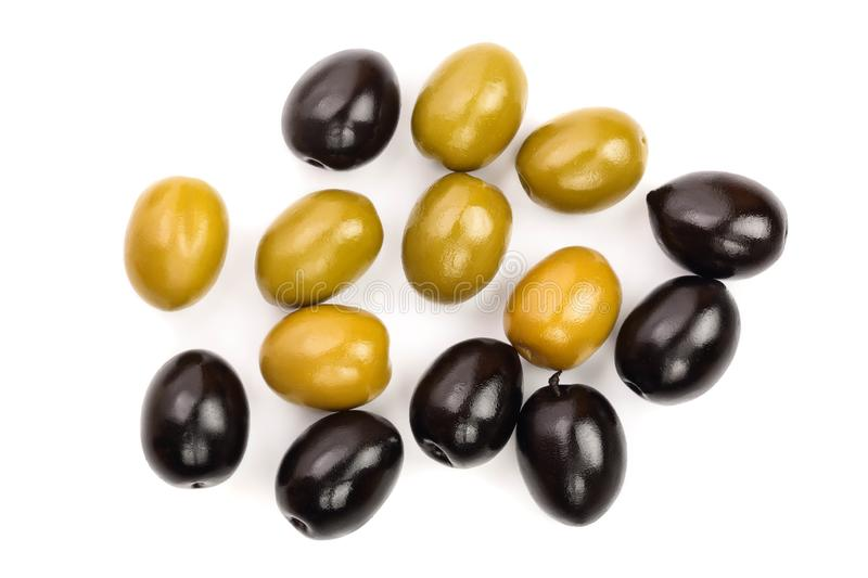 Green and black olives isolated on a white background. Top view. Flat lay.  royalty free stock photos