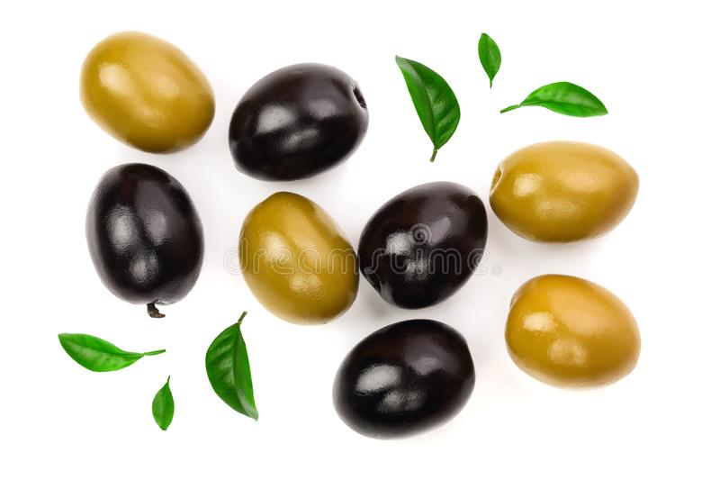 Green and black olives isolated on a white background. Top view. Flat lay.  royalty free illustration