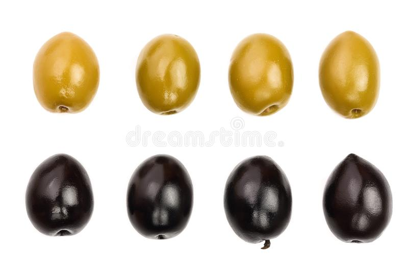 Green and black olives isolated on a white background. Top view. Flat lay. Set or collection.  royalty free stock photography