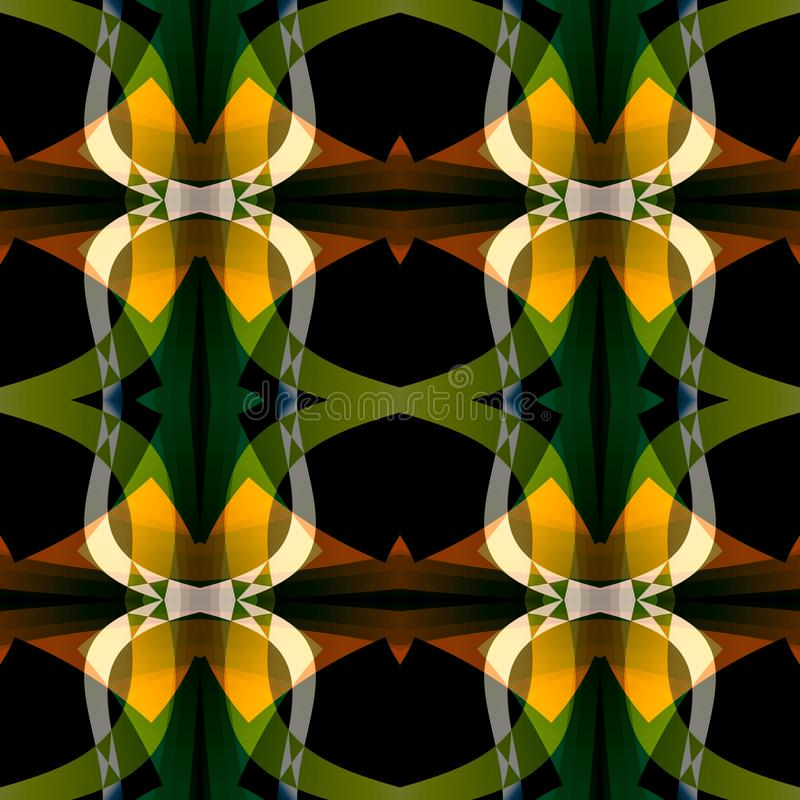 Green black orange abstract texture. Detailed background illustration. Structured seamless tile. Textile print pattern. Home decor royalty free illustration