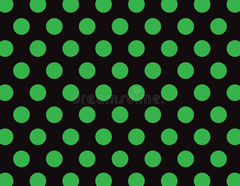 Green and Black Polka Dot Background. Green and Black Polka Dot Vector Background stock illustration