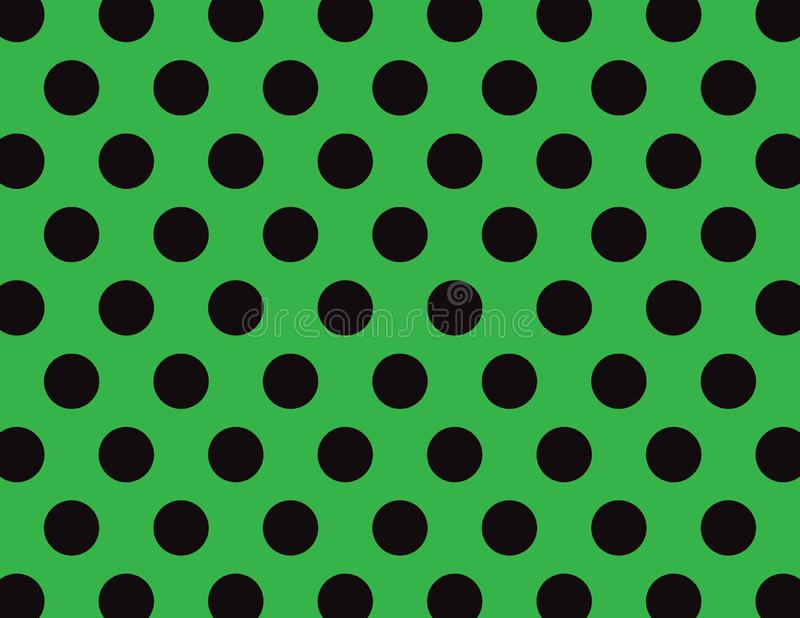 Green and Black Polka Dot Background. Green and Black Polka Dot Vector Background royalty free illustration
