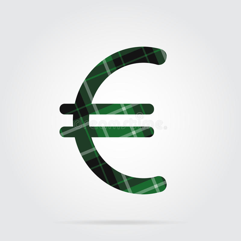 Green, black tartan icon - euro currency symbol stock illustration
