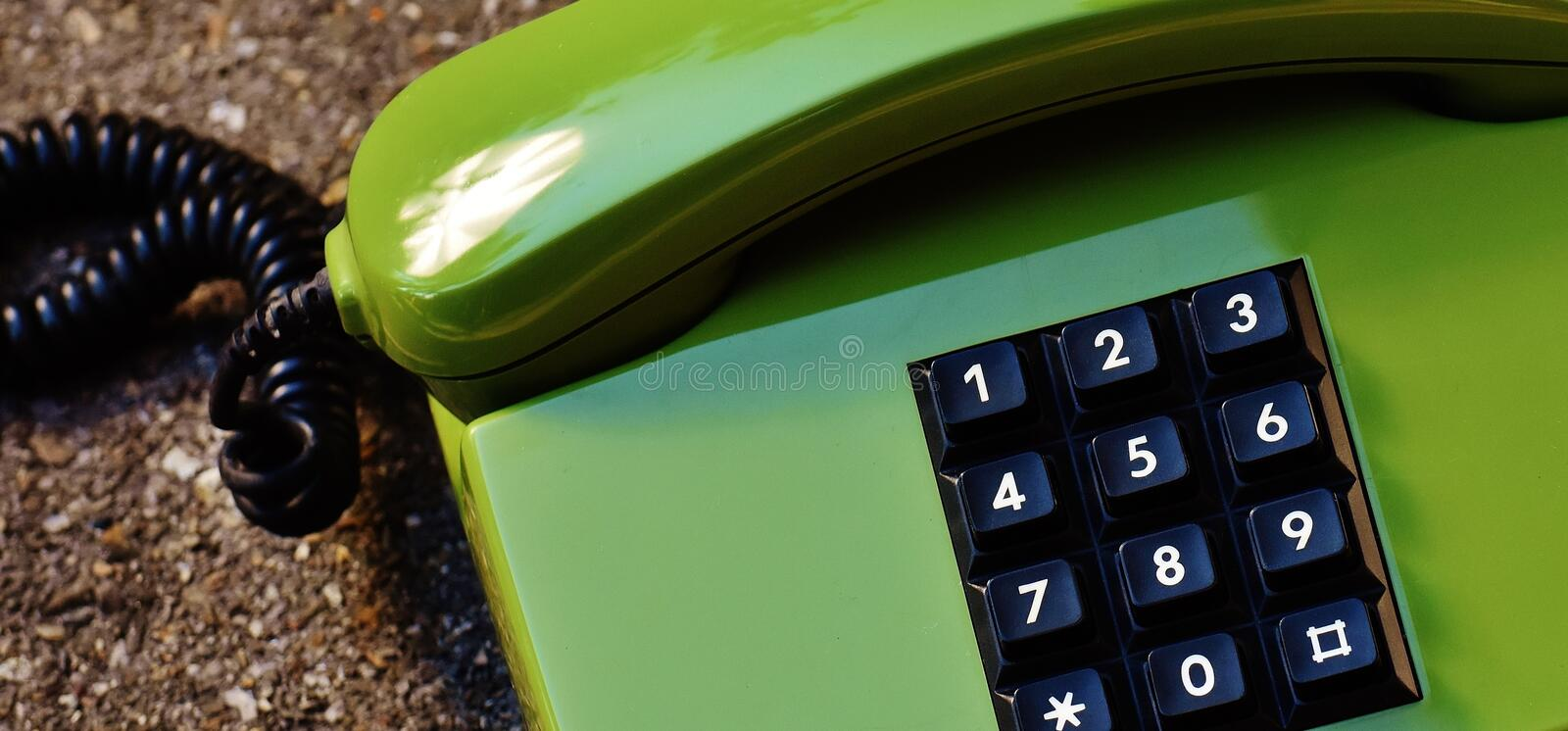 Green Black Telephone stock image