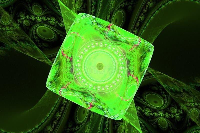 Green black waves fractal fraktal wallpaper background animated geometric shapes pattern stock illustration