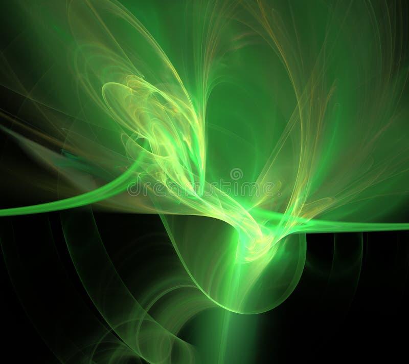 Green black waves fractal fraktal wallpaper background animated geometric shapes pattern royalty free illustration