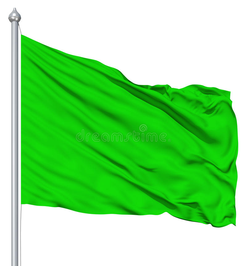 Free Green Blank Flag With Flagpole Stock Image - 25205081