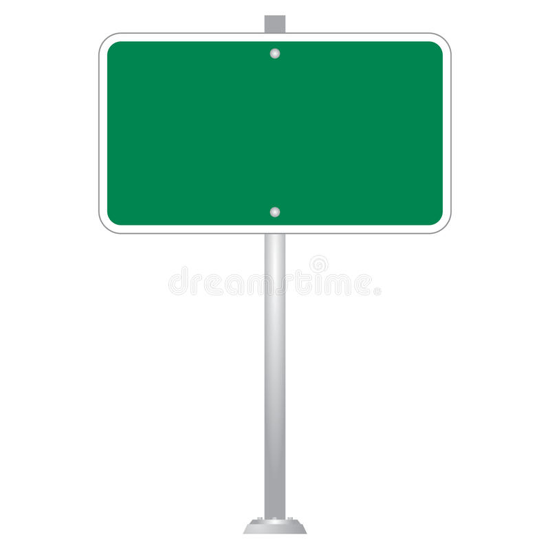 Green Blank Road Sign Board vector set. Image of Blank Road Sign Board isolated on white royalty free illustration