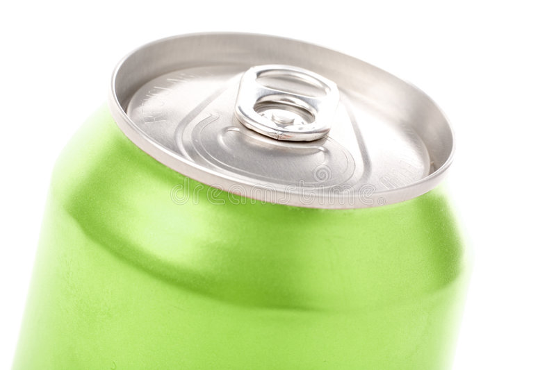Green blank soda can. With white background royalty free stock photography