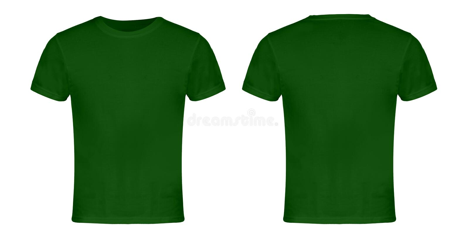 Green Blank T-shirt Front and Back stock photos
