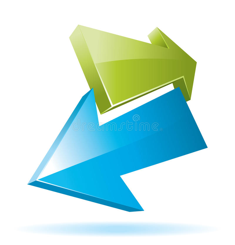 Green and blue 3d vector arrows. Green and blue 3d arrows for your business presentation vector illustration