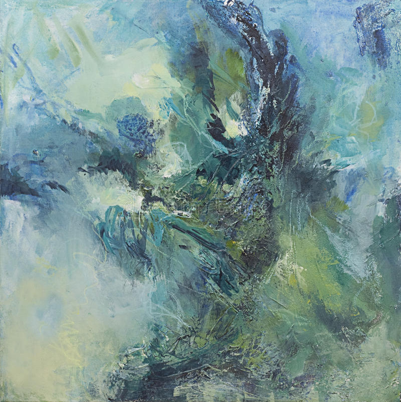 Green and blue abstract expressionist painting. My own acrylic abstract painting on canvas expressing movement of ocean waves. Lively brushstrokes and plenty of royalty free stock photos