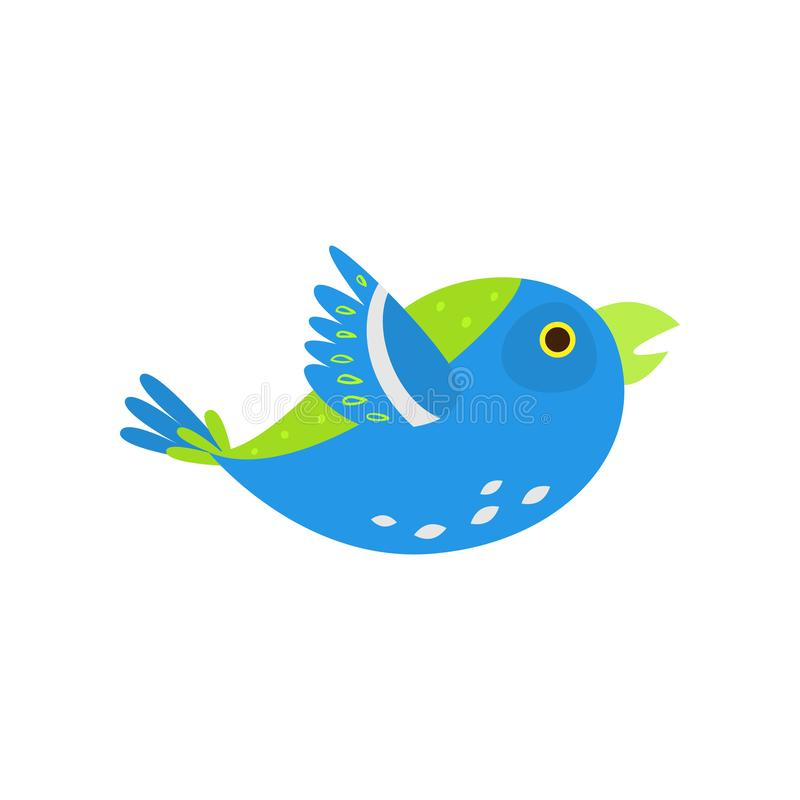 Green blue bird parrot flying in zoo big cage. With more species. Flat style. Vector illustration on white background royalty free illustration