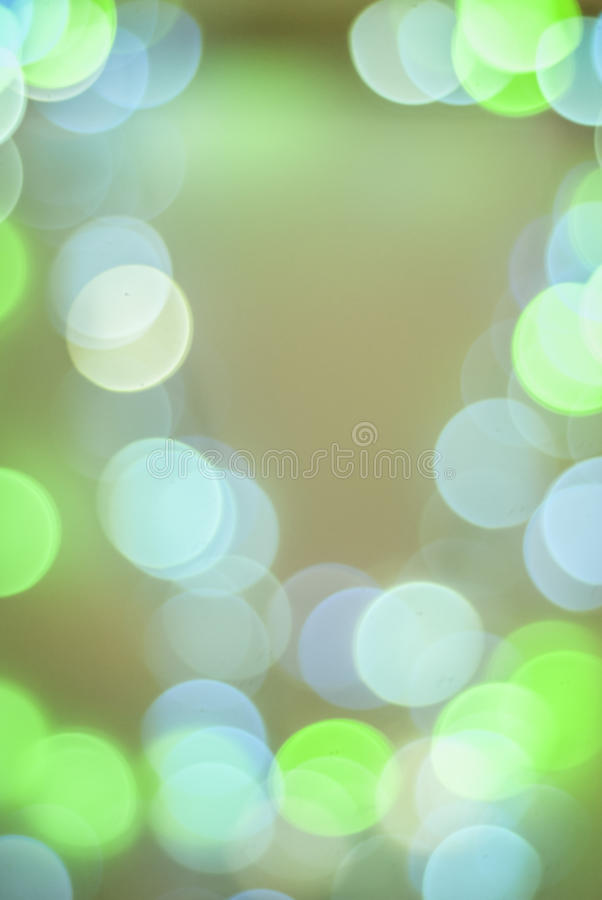 Green and blue bokeh circle lights stock images
