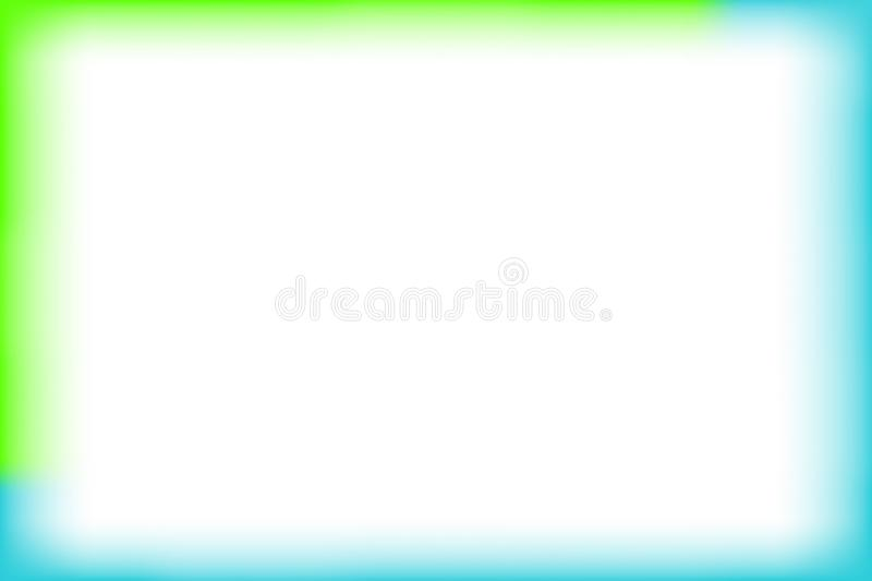 Green and blue border rectangle blur and smooth white for background banner and blank copy space, banner frame watercolor art vector illustration