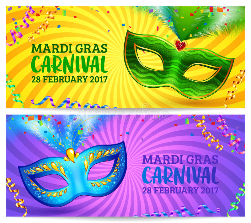 Green and blue carnival masks Mardi Gras invitation flyers with yellow and violet twisted backgrounds royalty free illustration