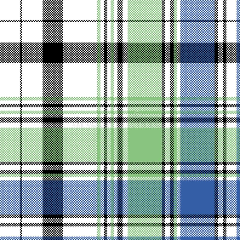 Green blue check plaid pixel seamless pattern royalty free illustration