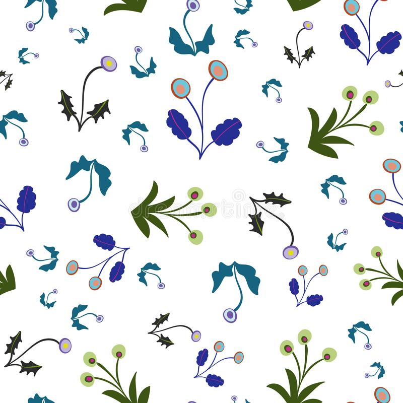 Green Blue en Lilac Floral Seamless Herhaal Pattern Vector Background vector illustratie