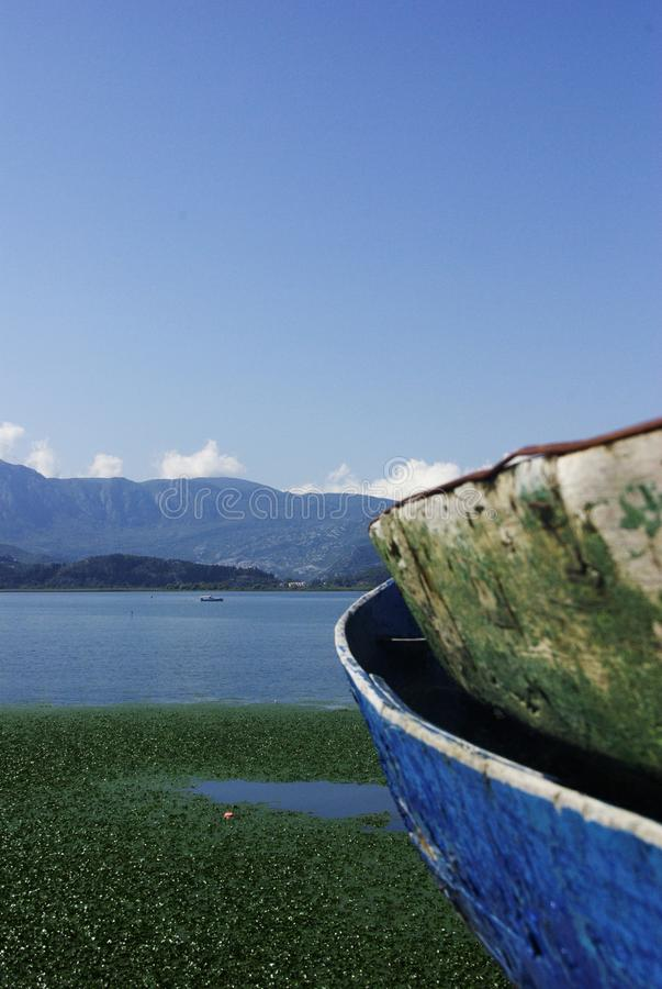 Fishing boats at the lake skadar in montenegro stock photography