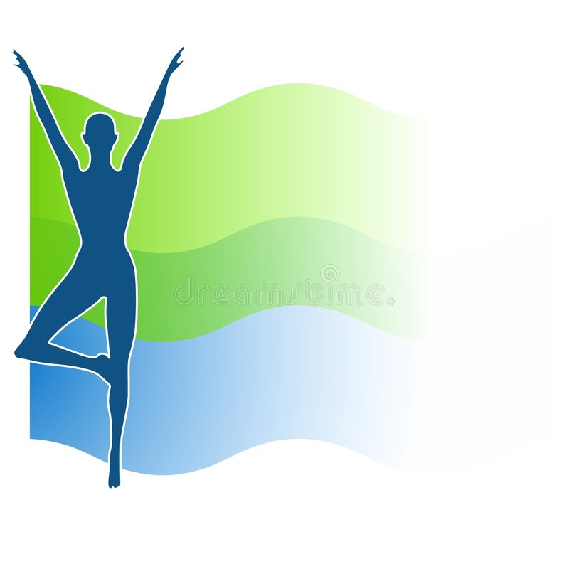 Green Blue Fitness Swoosh Silhouette royalty free illustration