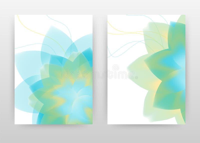 Green, blue flower petal design for annual report, brochure, flyer, poster. Green, blue flower petal on white background vector. Illustration for flyer, leaflet vector illustration