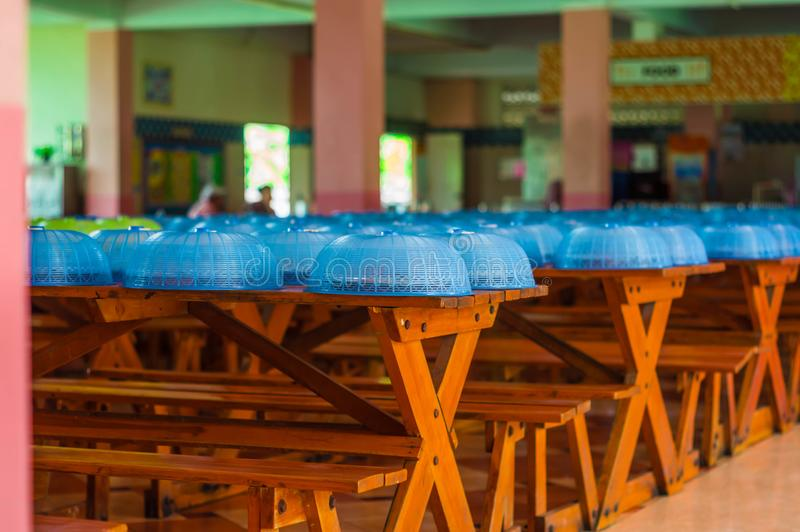 Green and blue Food Cover,And lunch in school. Green and blue Food Cover,And lunch in school,Placed in order, black to shcool on the opening day stock photography