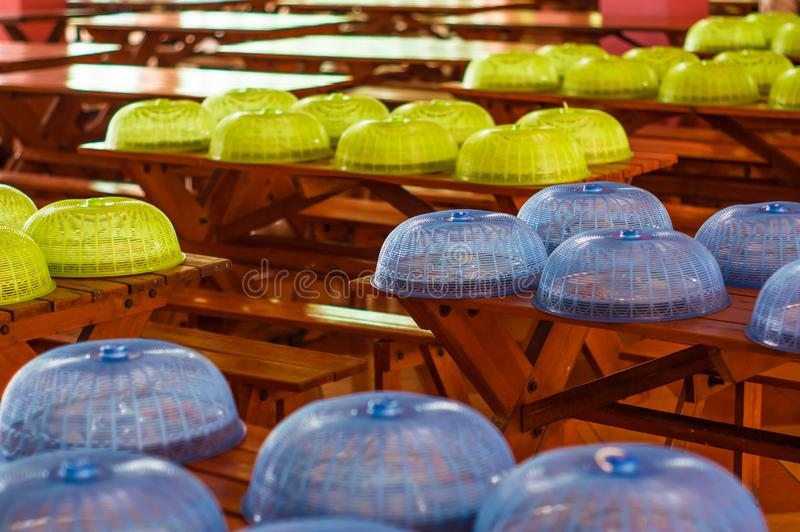 Green and blue Food Cover,And lunch in school. Green and blue Food Cover,And lunch in school,Placed in order, black to shcool on the opening day stock images