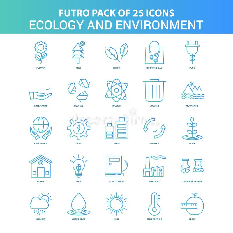 25 Green and Blue Futuro Ecology and Enviroment Icon Pack. This Vector EPS 10 illustration is best for print media, web design, application design user stock illustration