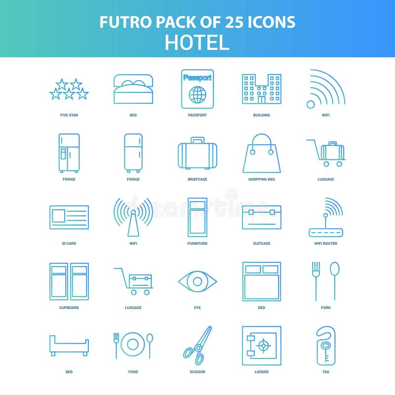 25 Green and Blue Futuro Hotel Icon Pack vector illustration