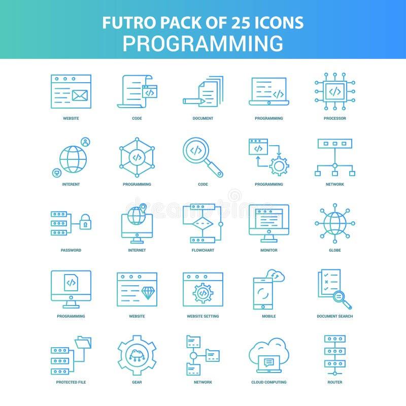 25 Green and Blue Futuro Programming Icon Pack stock illustration
