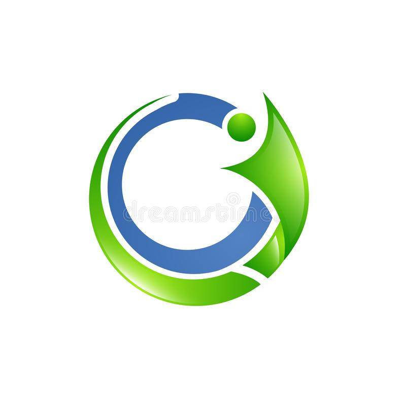 Green blue human social connection icons and logo. Vector illustration royalty free illustration