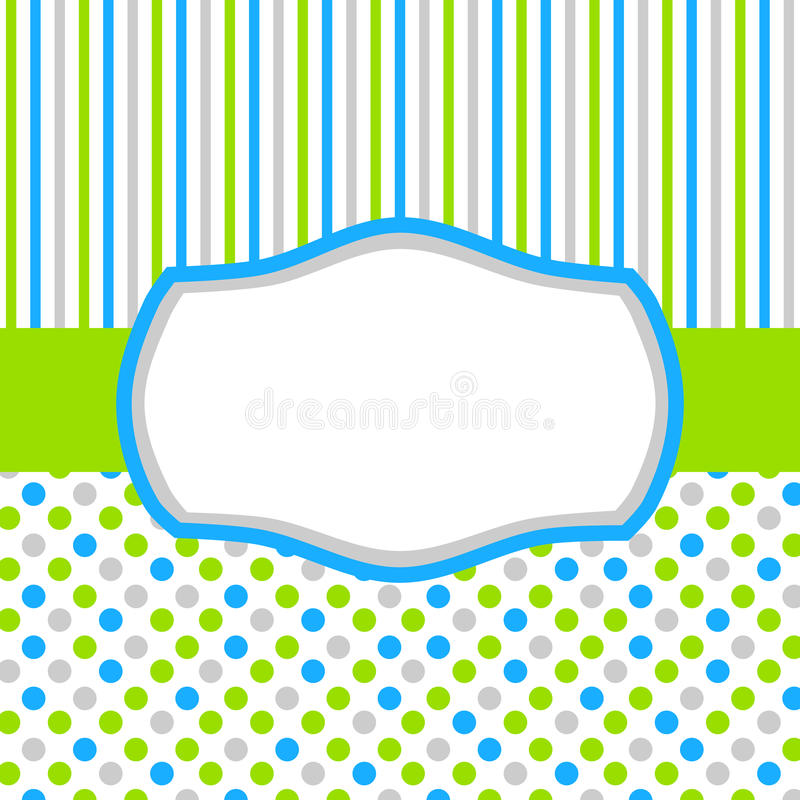 Green blue invitation card with polka dots and stripes. Square invitation card or tag with polka dots, stripes and a frame for text or image