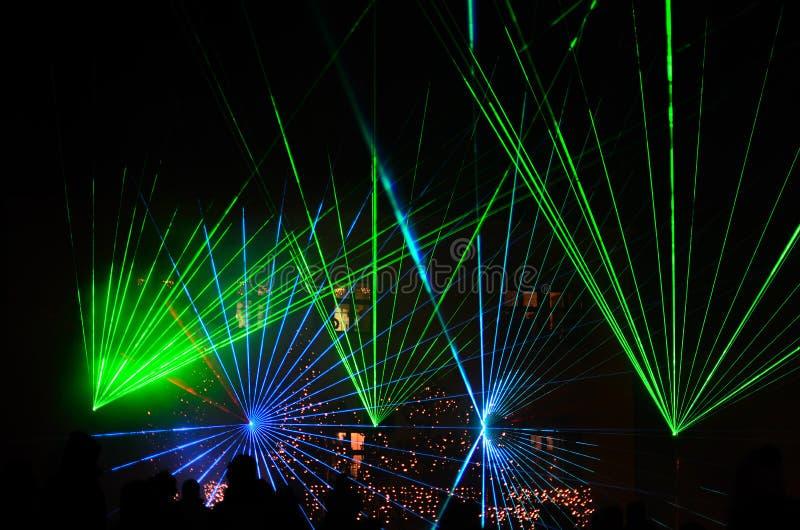 Green blue laser show royalty free stock photos