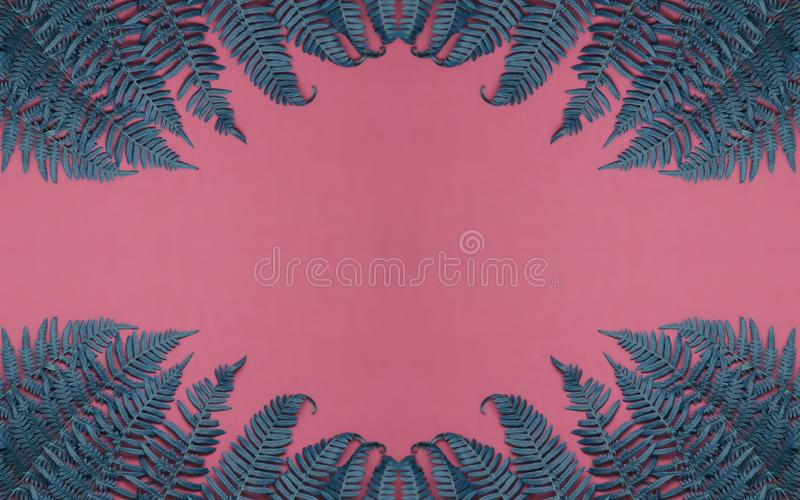Green and blue leaves on pink background. Long banner photo. Header format. Your text space royalty free stock images