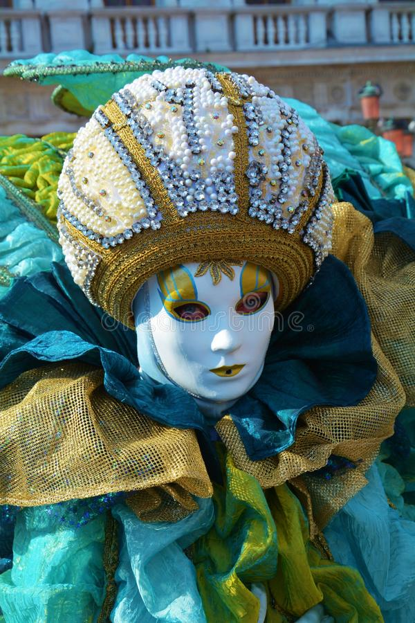 Green and blue mask, Venice, Italy, Europe royalty free stock images