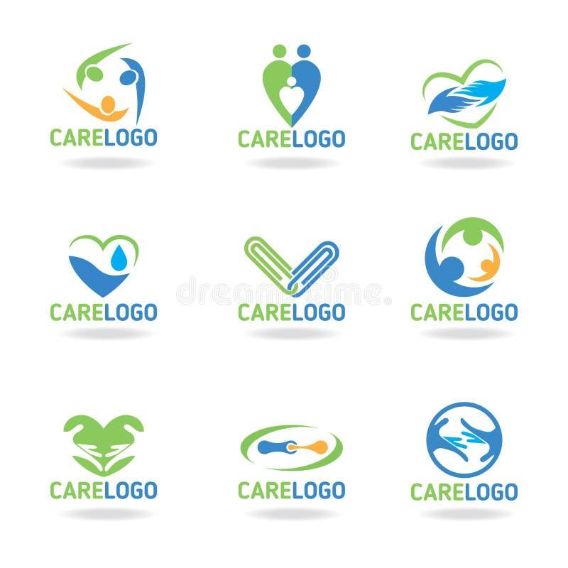 Green blue and orang Care logo vectoe set design vector illustration