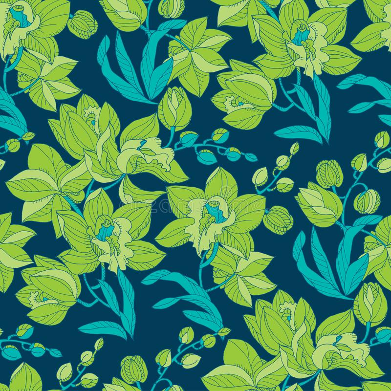 Green and blue orchid floral seamless pattern vector illustration