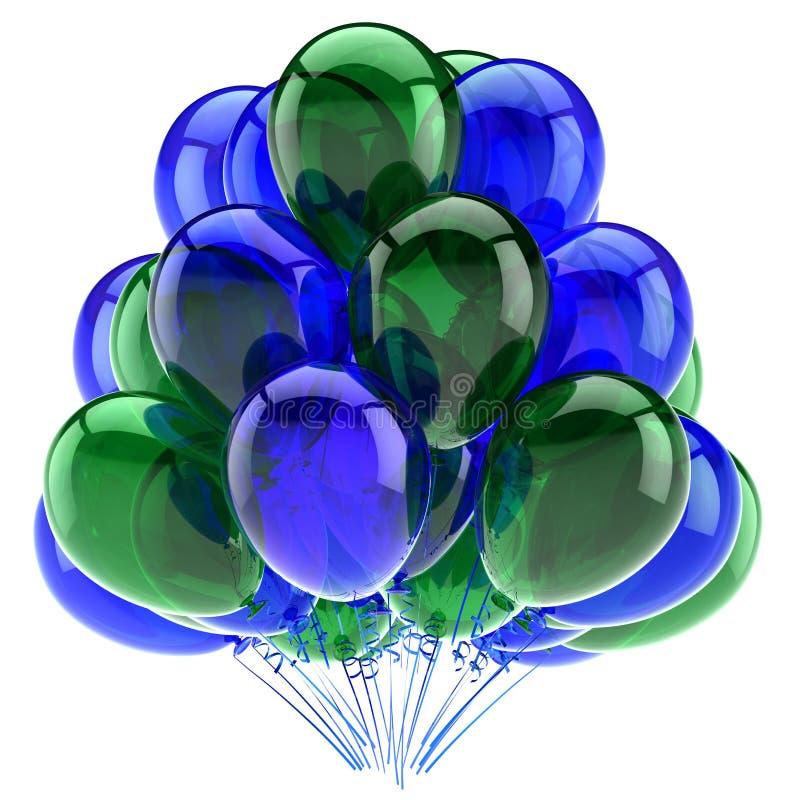 Green blue party balloons baloons ballons bunch. Birthday decoration vector illustration