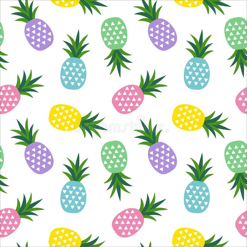 Green, blue, pink, purple and yellow pineapple with triangles geometric fruit summer tropical sweet pattern on a white background royalty free illustration