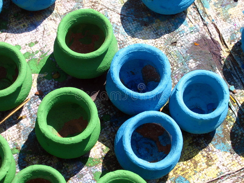 Download Green & Blue Pots Royalty Free Stock Image - Image: 1375336