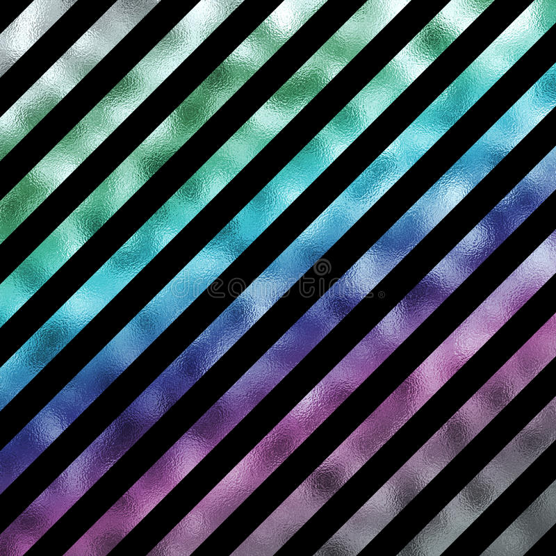 Green Blue Purple Metallic Faux Foil Holographic Stripes stock illustration
