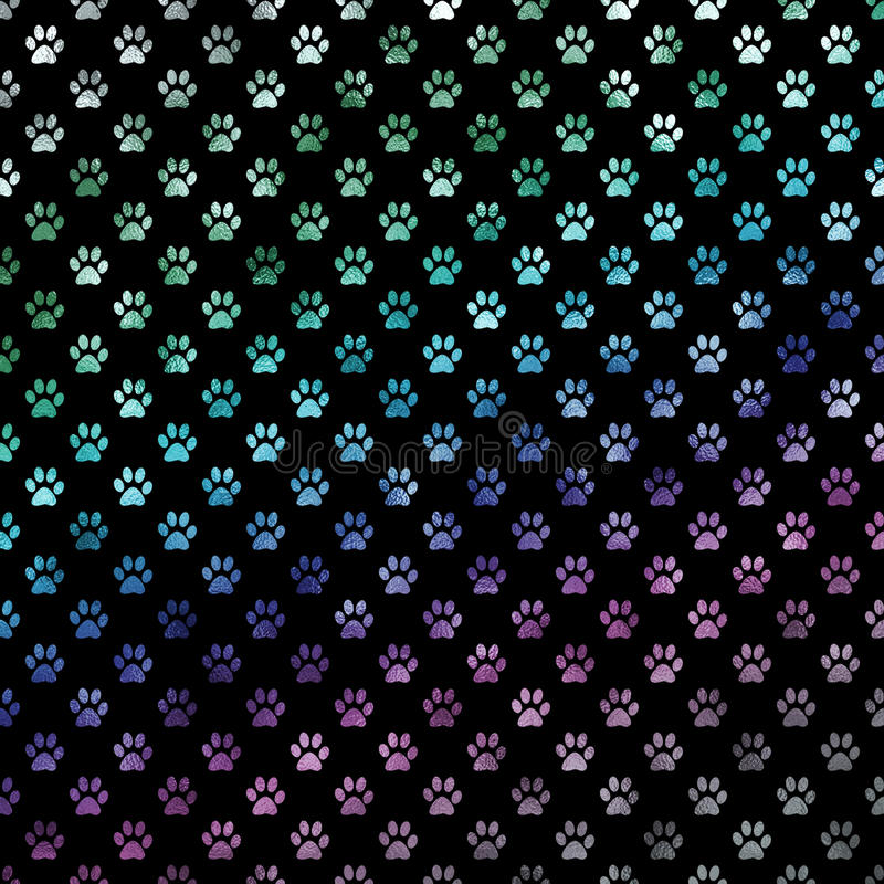 Green Blue Purple Rainbow Dog Paws Metallic Foil Polka Dot Paw Pattern Background royalty free illustration