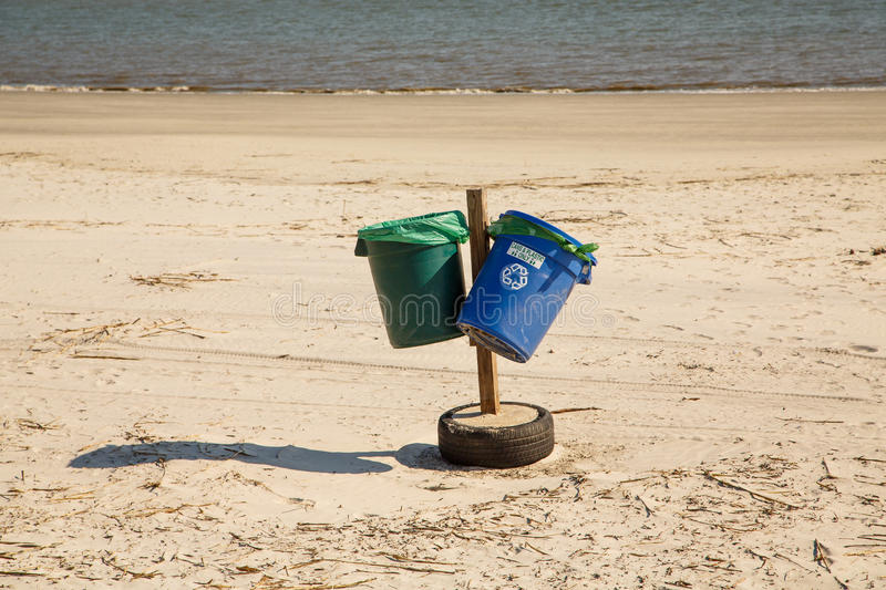 Download Green And Blue Recycle Bins On Beach Stock Image - Image: 31188127