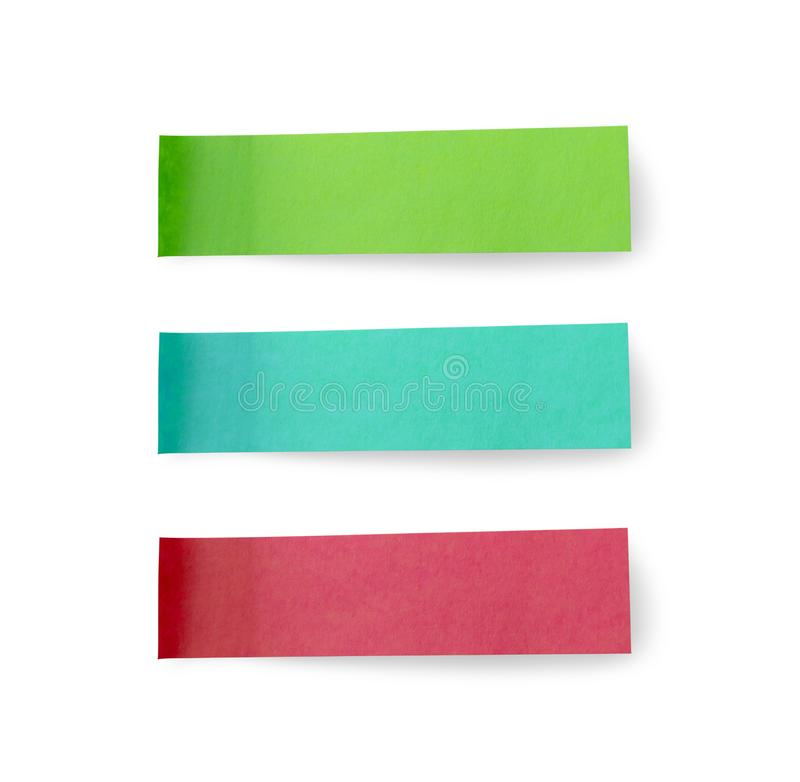Green blue and red post note paper sticker set isolated on white. Background stock image