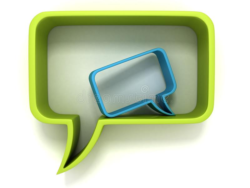 Download Green And Blue Speech Dialogue Bubbles On White Stock Illustration - Image: 32260383