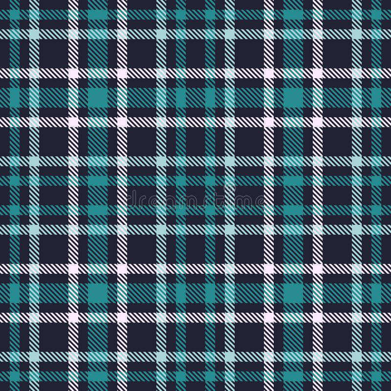 Green Blue tartan seamless vector pattern. Checkered plaid texture. Geometrical square background for fabric royalty free illustration