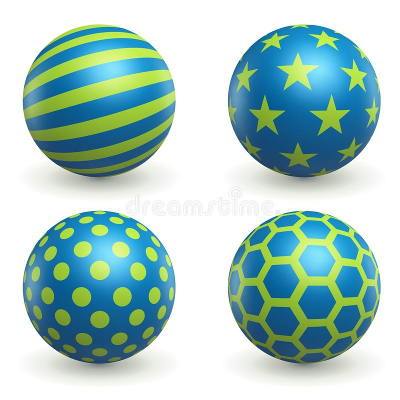 Green and Blue Textured 3D Spheres royalty free illustration