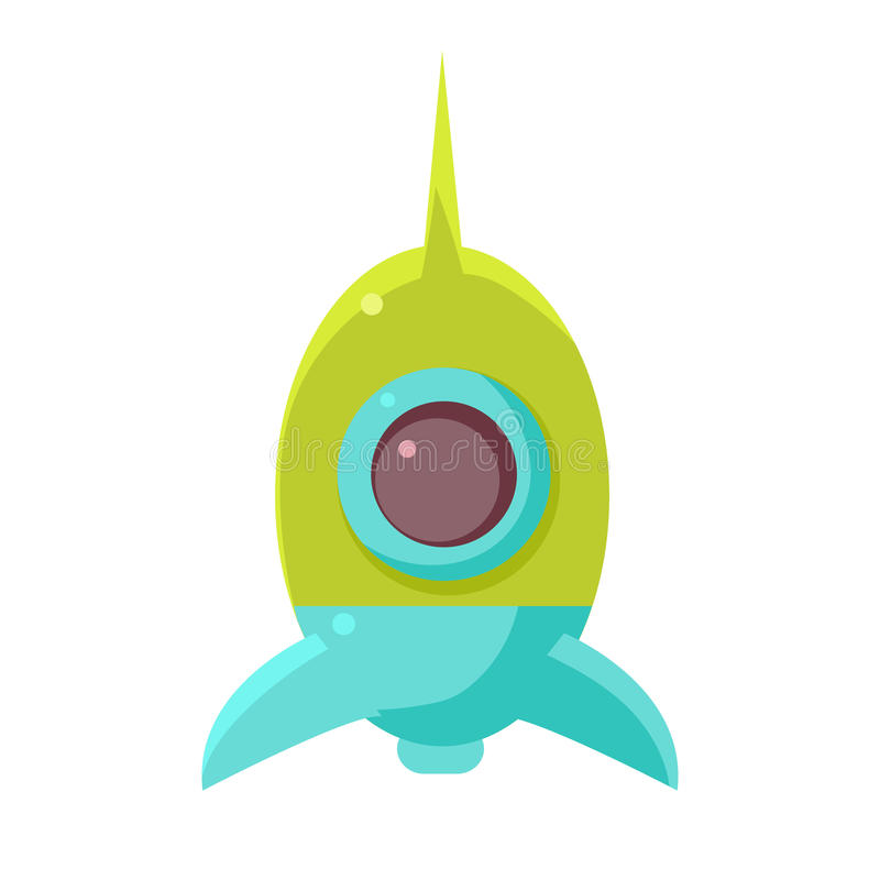 Green And Blue Toy Rocket Space Ship, Object From Baby Room, Happy Childhood Cute Illustration. Part Of Happy Childhood And Infancy Isolated Cartoon Items stock illustration