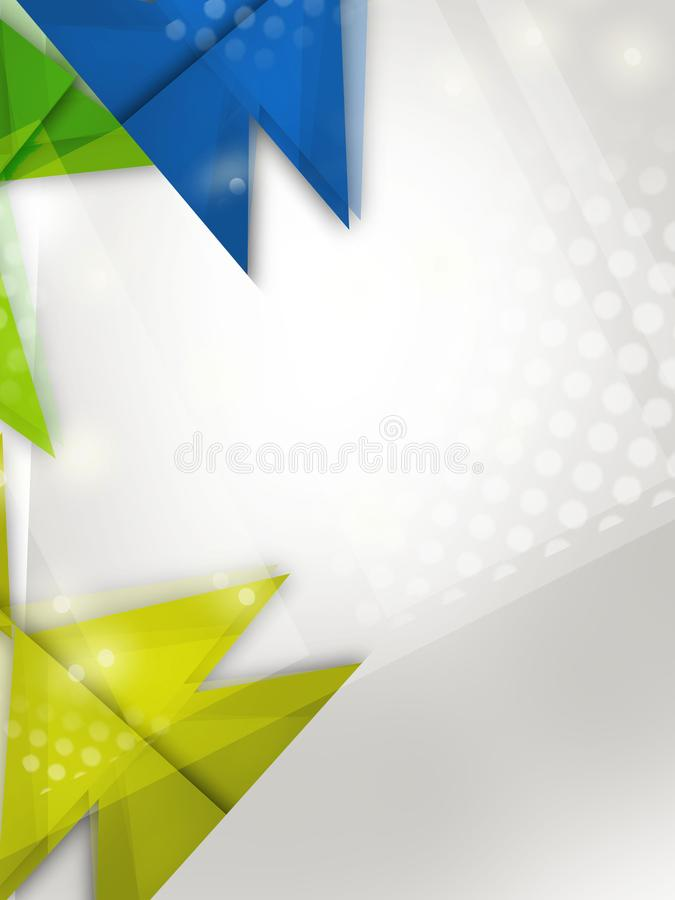 Green and blue triangle overlap and star abstract background. Vertical creative background stock illustration